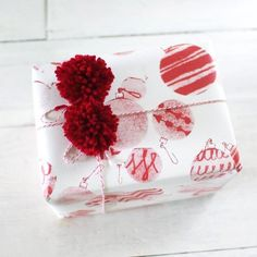 Handprinted red ornament christmas wrapping paper