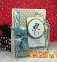 GKD Holiday 2016 Release. Card by Sheri Gilson. Features the Holiday Frame set illustrated by Melanie Muenchinger for Gina K. Designs.  www.shop.ginakdesigns.com