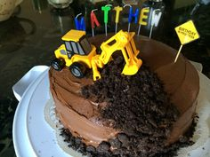 Digger cake, for a planes, trains and automobile themed 2yo Birthday party.