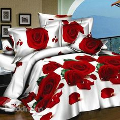 New Arrival Gorgeous Red Roses 3D Printed 4 Piece Bedding Sets/Comforter Sets  @bedding inn