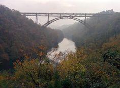 The steel bridge on the Adda river