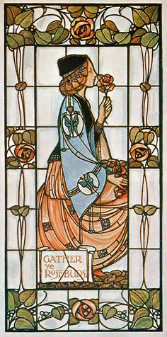 There is a duplicate of this window in 191 Frederick Street, San Francisco, CA. *********Gather Ye Rosebuds stained-glass window by Alex Gascoyne, Art Nouveau Stained Glass Art, Stained Glass Windows, Mosaic Glass, Window Glass, Art Nouveau Tiles, Art Nouveau Design, Arts And Crafts Movement, Cristal Art, L'art Du Vitrail