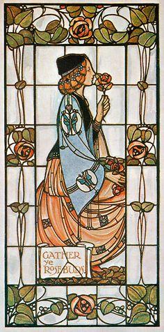 rosebiar:    artofnarrative:    myaloysius:    heavymettle:    Art Nouveau stained-glass window by Alex Gascoyne, 1906