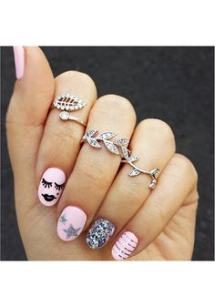 Knuckle ring set and pretty #nails