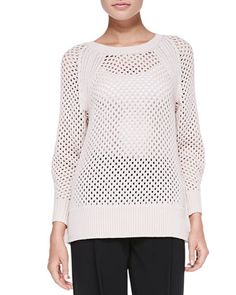 Rib-Trim Perforated Knit Pullover Top at CUSP.