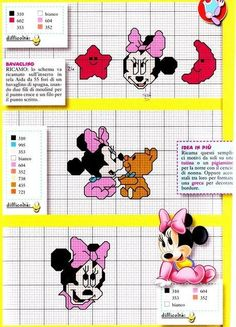 Discover thousands of images about Baby Disney cross stitch Cross Stitch Fabric, Cross Stitch Art, Cross Stitching, Disney Cross Stitch Patterns, Cross Stitch For Kids, Stitch Disney, Plastic Canvas Books, Minnie Baby, Disney Babys