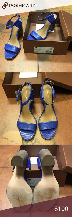 🎀HP🎉🎀COACH Wow! Beautiful Coach Lexey heel/sandal. Deep marine color solid snake print. Leather stamped. Comes with box and shoe care booklet. Re poshing:) love, love, love them just a little too big for me:) slight wear from original seller. Coach Shoes Heels