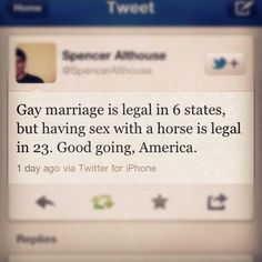 """Same sex marriage is legal now but I'd just like to point this out to people who still say """"why did they even need it in the first place"""" because we are worse than bestiality to some people and that's fucked up"""
