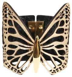 "Daniela Zagnolli Butterfly Cut Leather Cuff ""Gold"" Daniela Zagnolli. $125.00. Handmade, Genuine Leather, Gold-plated brass magnetic closure"