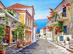 cuadros-de-paisajes-con-acurela-flores.jpg (1024×759)