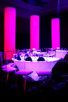 Our Stunning 5'6 Wireless Spandex Covered LED Banquet Tables.