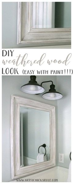 SO EASY to do!! DIY Weathered Wood Look with Paint artsychicksrule.com