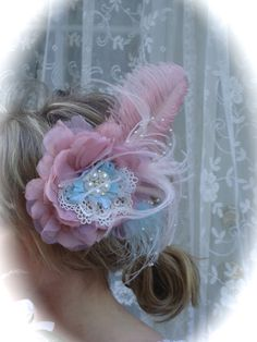 Marie Antoinette Pink and Blue Shabby Chic Bridal by Ivyndell, $32.00 This for me! LOL