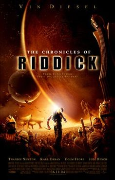 The Chronicles of Riddick (2004)  The wanted criminal Riddick arrives on Helion Prime and finds himself up against an invading empire called the Necromongers.  Vin Fiesel, Judi Dench, Colm Feore