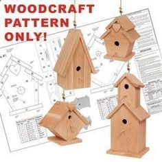 Birdhouse Village DIY Woodcraft Pattern #1824 - This simple project turns leftover wood pieces into four lovely, full-size birdhouses! Precise plans guarantee no-fail success. Easy to make, fun to sell! Largest is 25H x 11W x 11D. 4 Designs! Pattern by Sherwood Creations #woodworking #woodcrafts #pattern #crafts #bird #birdhouse #easybirdhouses #birdhousedesigns #birdhouseplans #simplebirdhouse #woodcraftprojects #diybirdhouse
