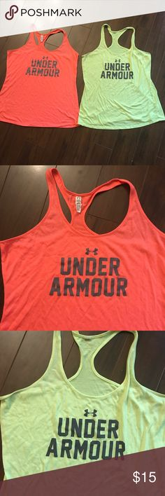 Under Armour heat gear workout tanks L 🏃🏽♀️ Super cute! Loose fit comfy & bright! Some normal wash wear but not bad. Under Armour Tops Tank Tops