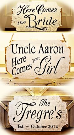 2 sided here comes the bride signs.  http://www.etsy.com/listing/94249169/2-sided-hanging-here-comes-the-bride?ref=v1_other_1