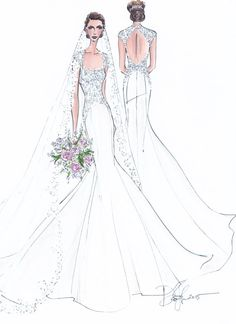 Custom Wedding Gown Illustration FRONT and by IllustrativeMoments Fashion Illustration Sketches, Fashion Design Sketches, Dress Illustration, Wedding Illustration, Wedding Dress Sketches, Marriage Dress, Bridal Gowns, Wedding Dresses, Designer Wedding Gowns