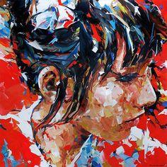 """Asia"" - Dorus Brekelmans, b. 1972, acrylic on canvas with palette knife, 2013 {contemporary figurative #expressionist female head woman face portrait texture grunge painting #loveart} Vivid!! dorusbrekelmans.nl"