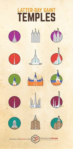 Flat Icon Design of Latter-day Saint Temples!  Check out the process at http://www.douglasphan.com/latter-day-saint-temple-flat-icon-design/