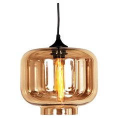 Pendant with a hand-blown glass shade and matching filament bulb.  Product: PendantConstruction Material: Glass ...