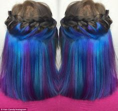 Women show off their amazing secret rainbow hair colours Chic: One woman showed off her incre. - Women show off their amazing secret rainbow hair colours Chic: One woman showed off her incredible - Peekaboo Hair Colors, Hair Color Blue, Cool Hair Color, Purple Hair, Hair Colours, Neon Hair, Hair Color Underneath, Hidden Hair Color, Hair Colors