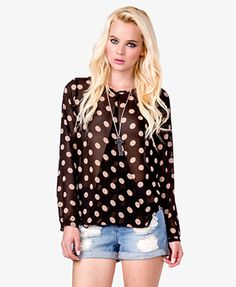 Open Front Polka Dot Top | FOREVER 21 - 2028053997