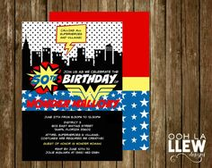 Wonder Woman Birthday Party Invitation by OohLaLlew on Etsy https://www.etsy.com/listing/234811826/wonder-woman-birthday-party-invitation