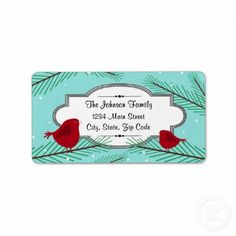 Red & Turquoise love Birds Christmas address label