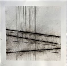 Fiona Robinson, 'Soundscape 4' Charcoal, pencil, chalk and wax on paper. These works are related to music; the lines originate from daily drawings of the subtle change in colour delineating the point at which sea and sky meet, horizon lines which gradually developed their own autonomy as they became more and more vertical. This image is discussed in our eBook 'Drawing skills' exploration' helping you into art college. www.portfolio-oomph.com