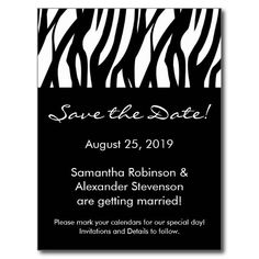 Black and White Modern Stripe Save the Date Card Postcards