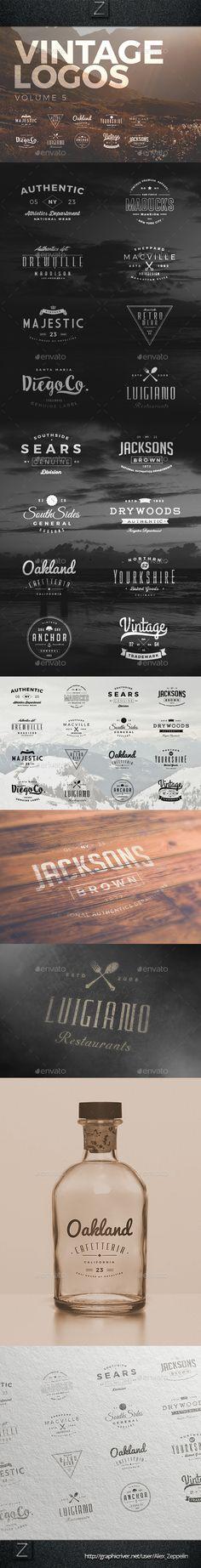 Vintage Logos #vintagelogos Download: http://graphicriver.net/item/vintage-logos-set-5/10514094?ref=ksioks