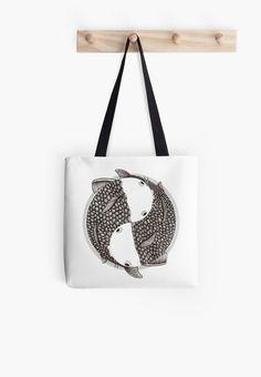 Pisces (black and white) Tote bag by #Beatrizxe | #Redbubble Two fish constantly rotate on a single axis. Eternity and infinity are represented in this illustration #pisces #zodiac #fish, #horoscope #ink #animal #japan #illustration, #artwork #draw #drawing #design #tattoo//// Dos peces giran constantemente en un mismo eje. Eternidad e infinito están representados en esta ilustración #pisces #zodiaco #pez #peces #horoscopo #tinta #japon #dibujo #diseño #tatuaje #creatividad