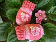 This sweet and simple striped baby mittens are made in the round with a long circular needle.