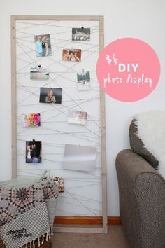 An easy tutorial for this cute DIY photo display. This is a great way to show many photos or cards at once and swap them out as the little ones get older! I'm putting this in our basement living room Diy Photo, Basement Living Rooms, Dining Rooms, Deco Champetre, Fall Diy, Diy Frame, Diy Room Decor, Home Decor, New Wall
