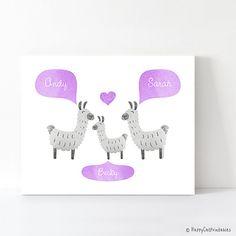 LLAMA Alpaca Nursery Decor Gray and Lavender by HappyCatPrintables