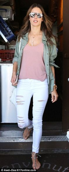 47 best what to wear with white jeans images ladies fashion  alessandra ambrosio nails off duty chic in ripped white skinny jeans