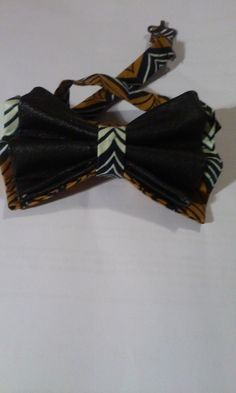 Handmade Bow Tie with Leather and Fabric