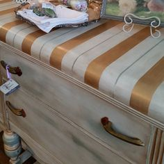 Metallic Paint by Modern Masters on Striped Dresser Top | Project by Deep Creek Vintage