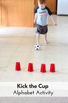 Theme Alphabet Activity: Kick the Cup This kick the cup alphabet activity is perfect for your ball theme lesson plans!This kick the cup alphabet activity is perfect for your ball theme lesson plans! Motor Skills Activities, Letter Activities, Gross Motor Skills, Literacy Activities, Preschool Activities, Toddler Gross Motor Activities, Physical Activities For Preschoolers, Preschool Kindergarten, Sports Activities For Kids