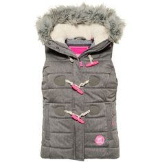 Superdry Marl Toggle Puffle Gilet ($95) ❤ liked on Polyvore featuring outerwear, vests, grey marl, women, puffy vests, grey waistcoat, gray vest, quilted puffer vest and zipper vest