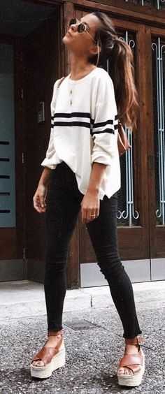 #winter #outfits white and black sweatshirt with black pants