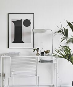 Workspace. Playtype poster, Flos lamp, Hay Hee chair | decordots