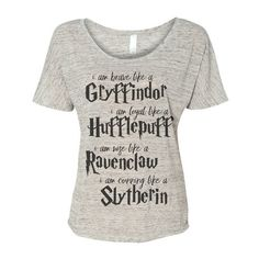 Harry Potter fandom clothing I am House traits Tee Tshirt pullover... ($30) ❤ liked on Polyvore featuring tops, hoodies, sweatshirts, shirts, pullover sweatshirt, traits, white sweatshirts, white top and white pullover