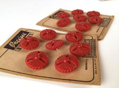 Vintage 30s Buttons Red Swirls Shank Buttons by iandrummondstash