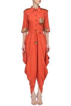 PRIYANKA SINGH Orange Cowl Drape Jumpsuit. Shop Now! #orange #cowl #jumpsuit #indianfashion #indiandesigners #fashion #embroidered #perniaspopupshop #happyshopping