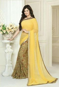 LadyIndia.com # Party Wear Saris, Shop Online Ideal Yellow Party Wear Saree For Women, Designer Sarees, Party Wear Saris, https://ladyindia.com/collections/ethnic-wear/products/shop-online-ideal-yellow-party-wear-saree-for-women