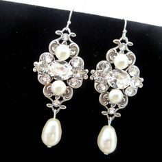 Ivory pearl earrings, bridal earrings, wedding jewelry, Vintage style earrings, Swarovski pearls and Swarovski crystals, ASHLYN on Etsy, $52.00