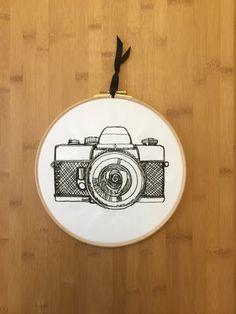 Vintage camera embroidery hoop art by StitchesOfAnarchy on Etsy More