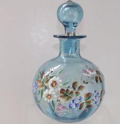 Victorian Enameled Azure Blue Perfume Bottle.